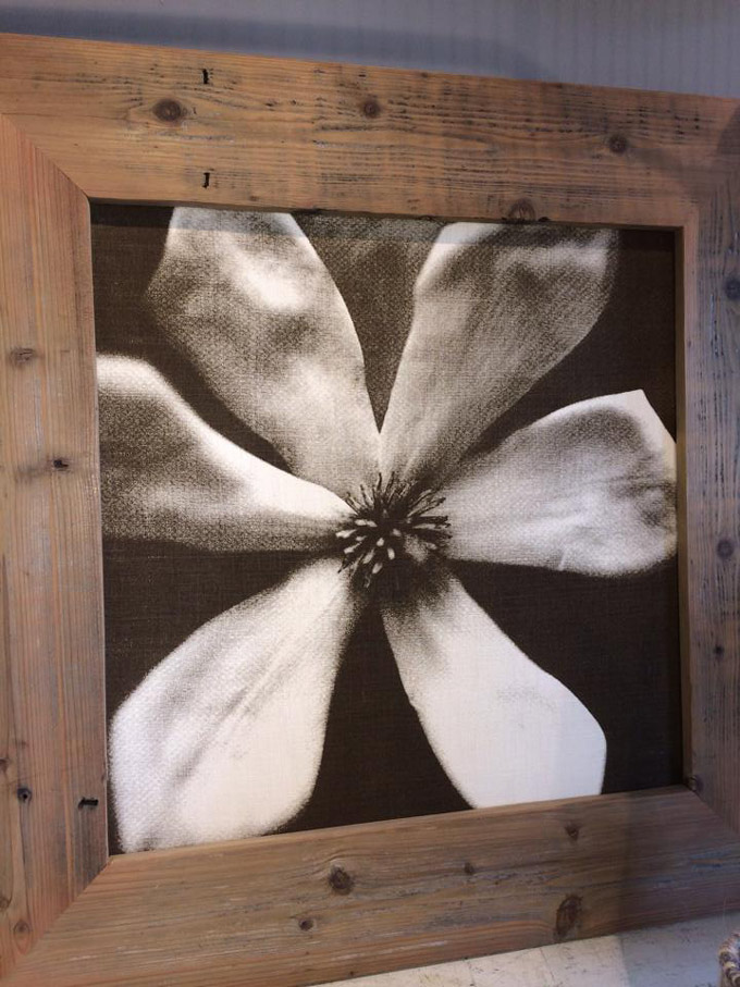Sepia tone dogwood print on linen in reclaimed wood frame