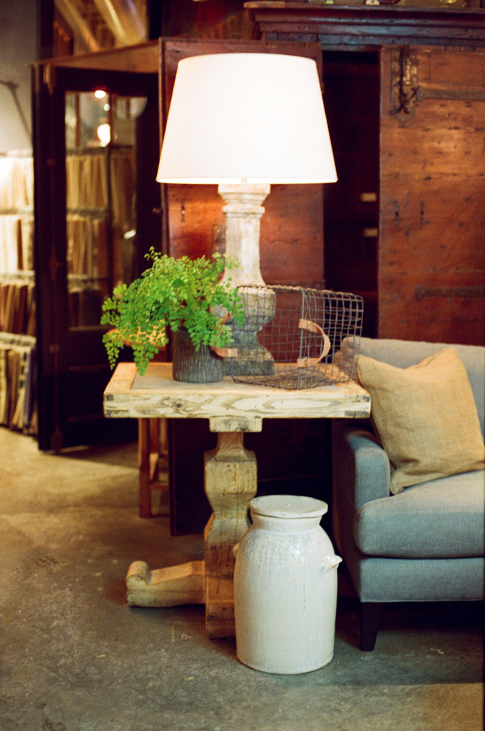 Visual Comfort Garden Balustrade Lamp  - Vintage Pottery Crock - Thanks La Croix Table - Linen Upholstered Sofa Lee Industries