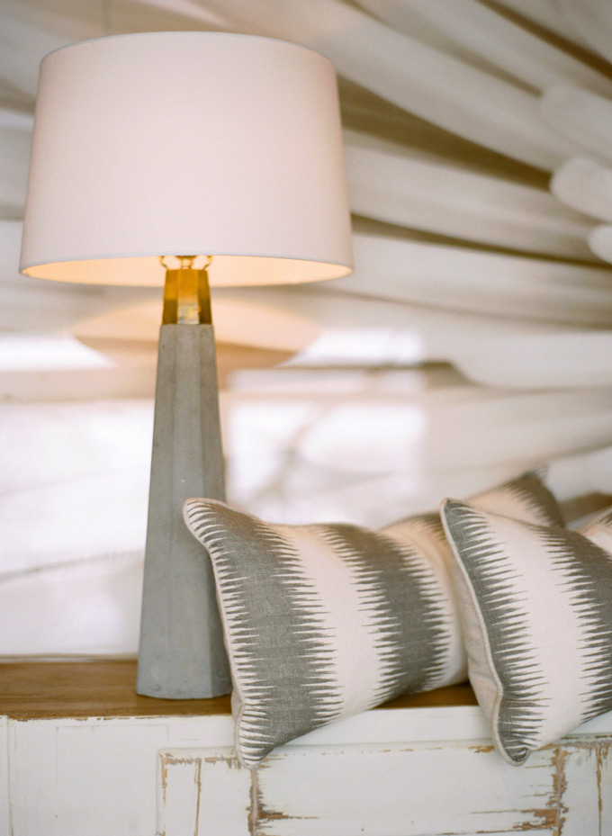 Concrete Table Lamp, Buri Linen Pillow, Ralph Lauren Milk White Sideboard