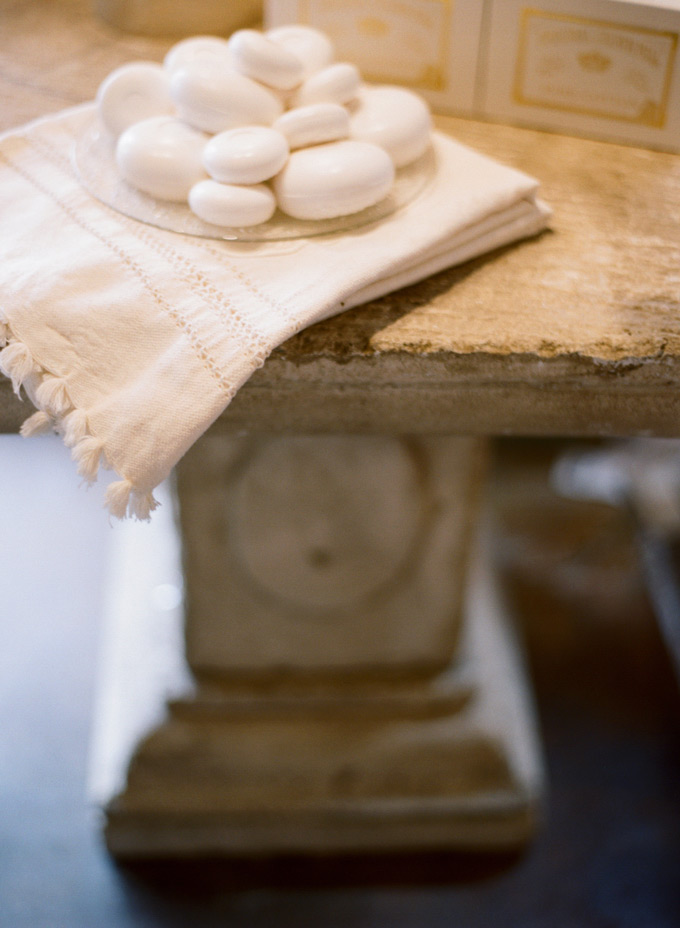 Blanc Lila French Milled Soaps  - Concrete Bistro Table - Berber Cotton Towel