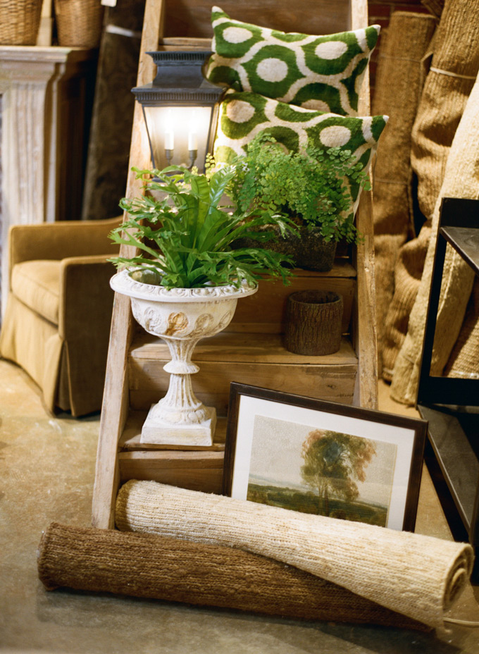 "Visual Comfort ""Elsinor"" Lantern - Silk Velvet Pillows - Fishtail braided jute rug - Landscape Framed Print - Stone Urn"
